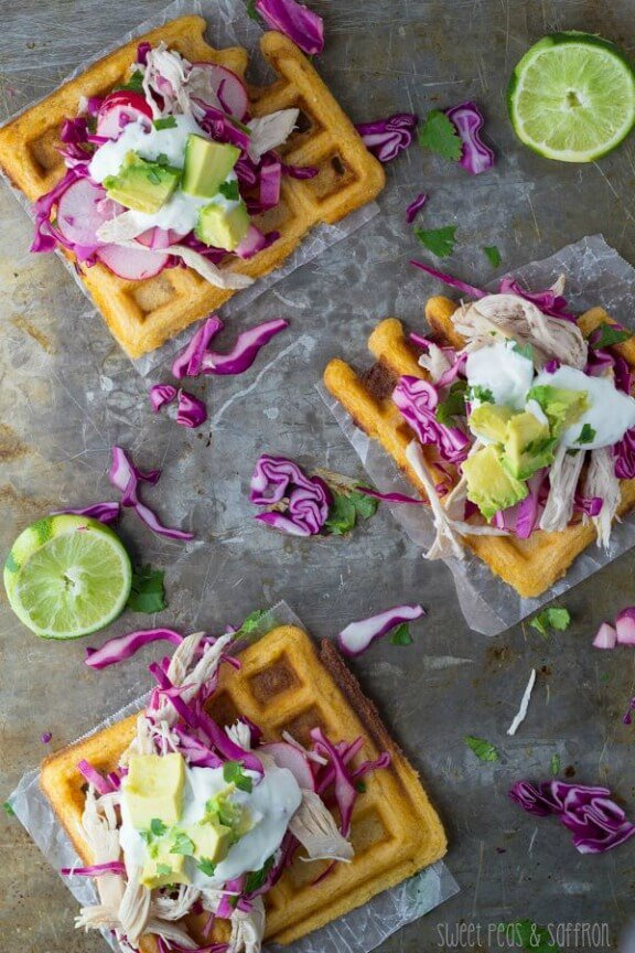 Chipotle-Cornmeal Waffle Tostadas with Chicken & Lime Crema | sweetpeasandsaffron.com