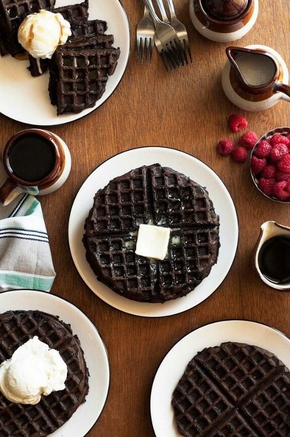 Dark Chocolate Zucchini Cake Waffles | thecandidappetite.com