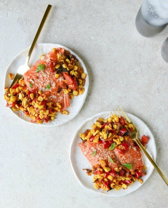 Garlic Butter Salmon with Caramelized Shallot Relish | howsweeteats.com
