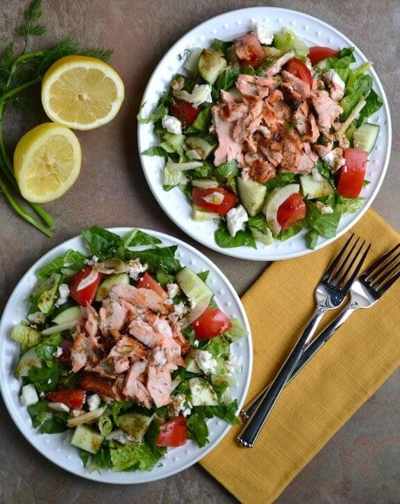 Greek Salmon Salad | stuckonsweet.com