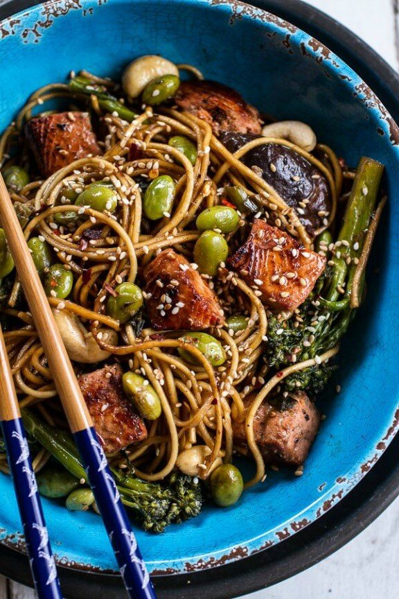Sake and Ginger Soba Noodle Salmon Stir Fry | halfbakedharvest.com