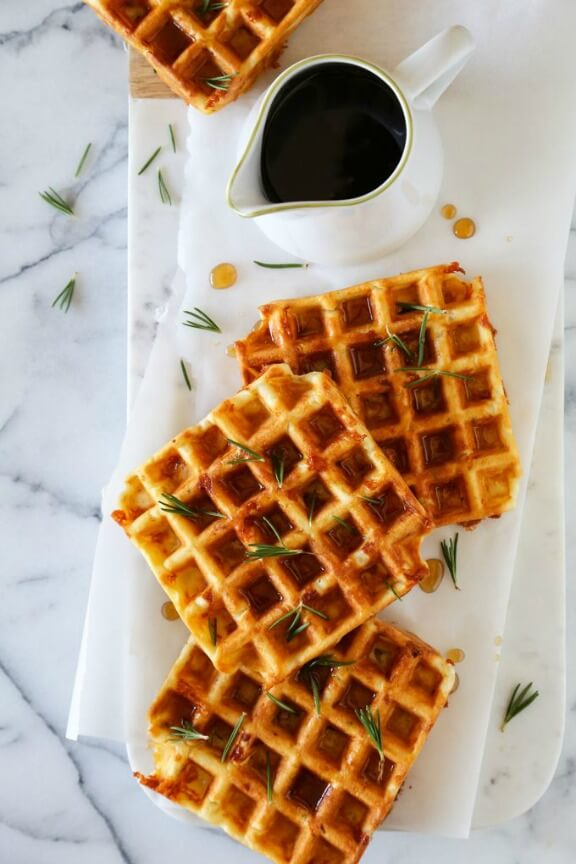 Savory Waffles with Rosemary, Ham and Dubliner Cheese | kitchenkonfidence.com