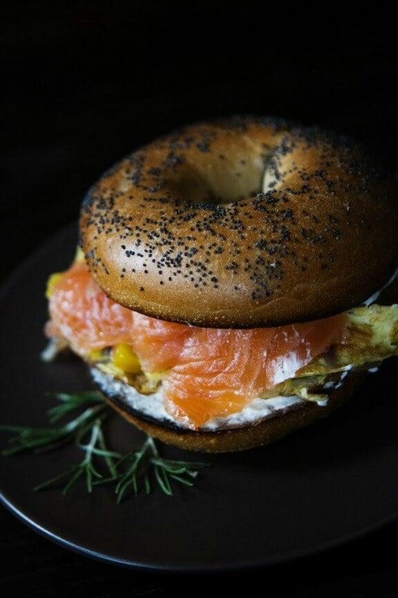 Smoked Salmon and Egg Breakfast Sandwich | athoughtforfood.net