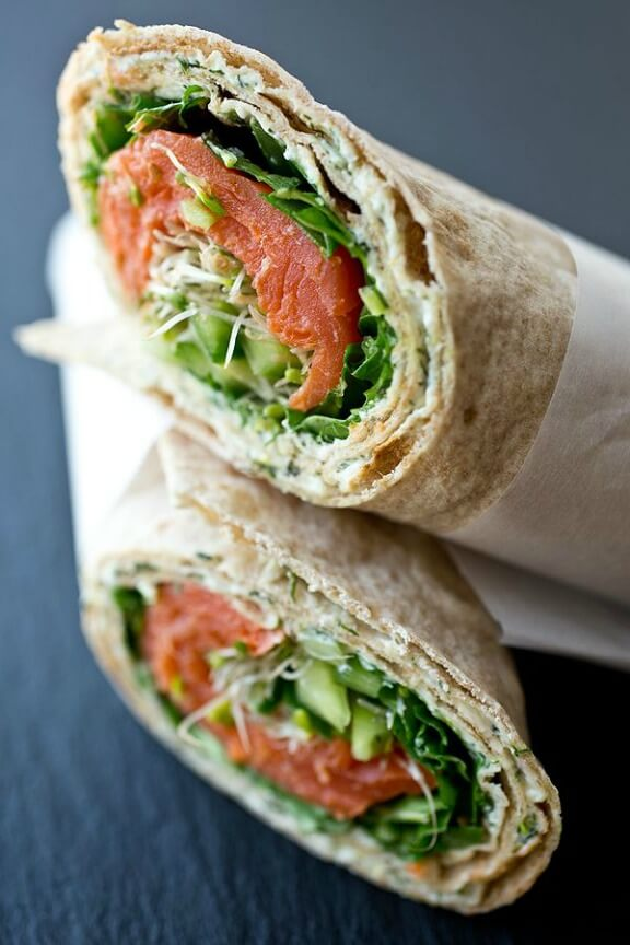 Smoked Salmon Lavash Wrap with Spicy Greens, Fresh Cucumber and Sprouts with Savory Lemon-Dill Cream Cheese Spread | thecozyapron.com
