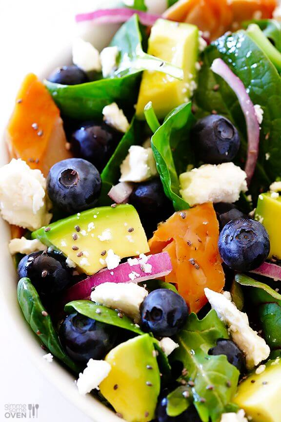 Spinach Salad with Salmon, Avocado and Blueberries | gimmesomeoven.com