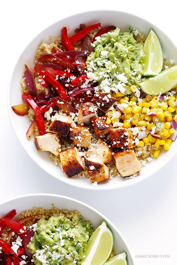 Chicken Quinoa Burrito Bowls -- easy to make, naturally gluten-free, and even tastier than the restaurant version! | gimmesomeoven.com