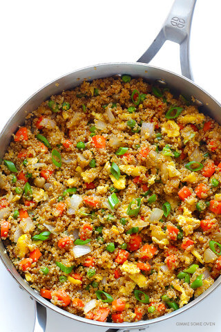 """Quinoa Fried """"Rice"""" -- all of the great flavors of fried rice, made with protein-packed quinoa instead of rice! 