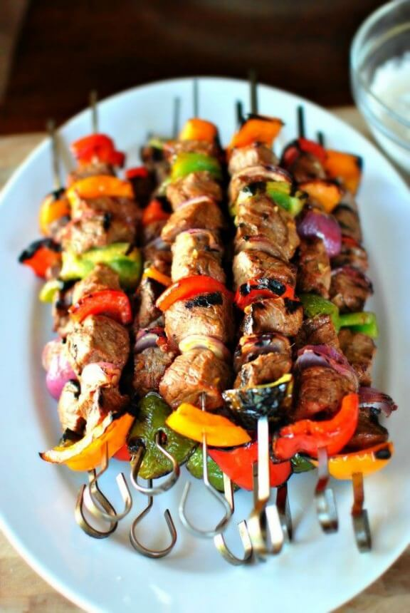 Grilled Marinated Steak Kebabs | simplyscratch.com