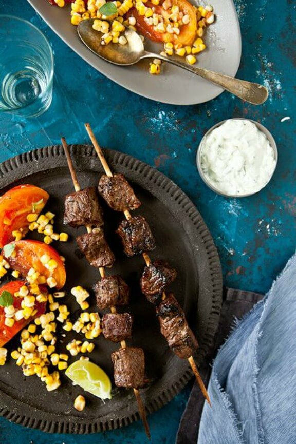 Lamb Kebabs with Tomato & Grilled Corn Salad with Sriracha Vinaigrette | tarteletteblog.com