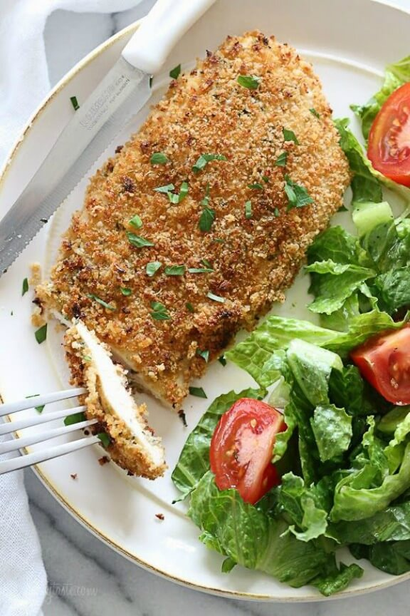 Mustard Herb Crusted Chicken Breasts | skinnytaste.com