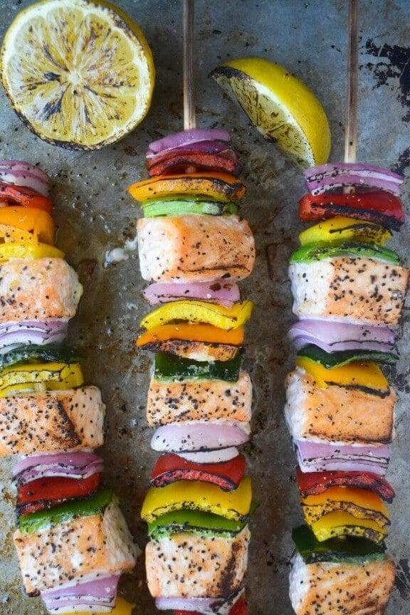 Rainbow Salmon Skewers | theviewfromgreatisland.com