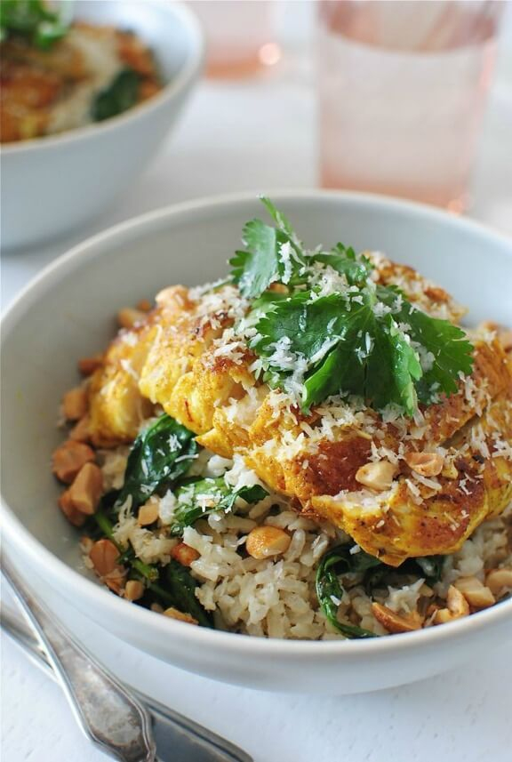 Seared Indian Chicken over Coconut Rice | bevcooks.com