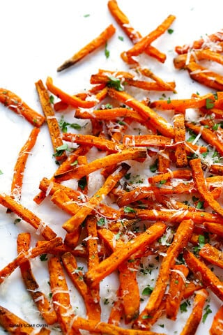 Baked Parmesan Sweet Potato Fries -- easy to make, healthier than the fried version, and super tasty | gimmesomeoven.com