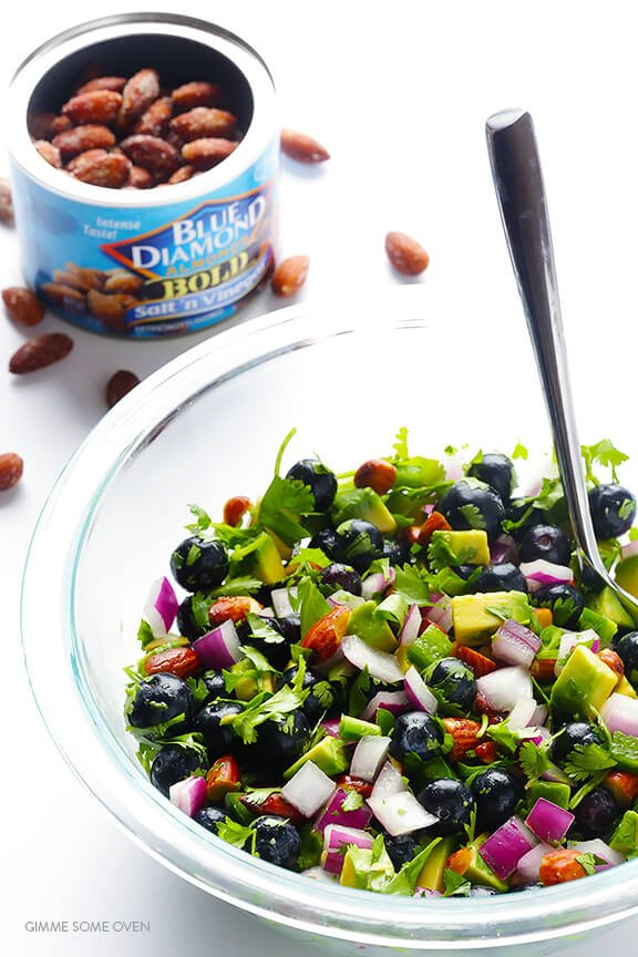 Fish Tacos with Blueberry-Almond Salsa -- perfectly sweet and savory, naturally gluten-free, and SO GOOD!   gimmesomeoven.com