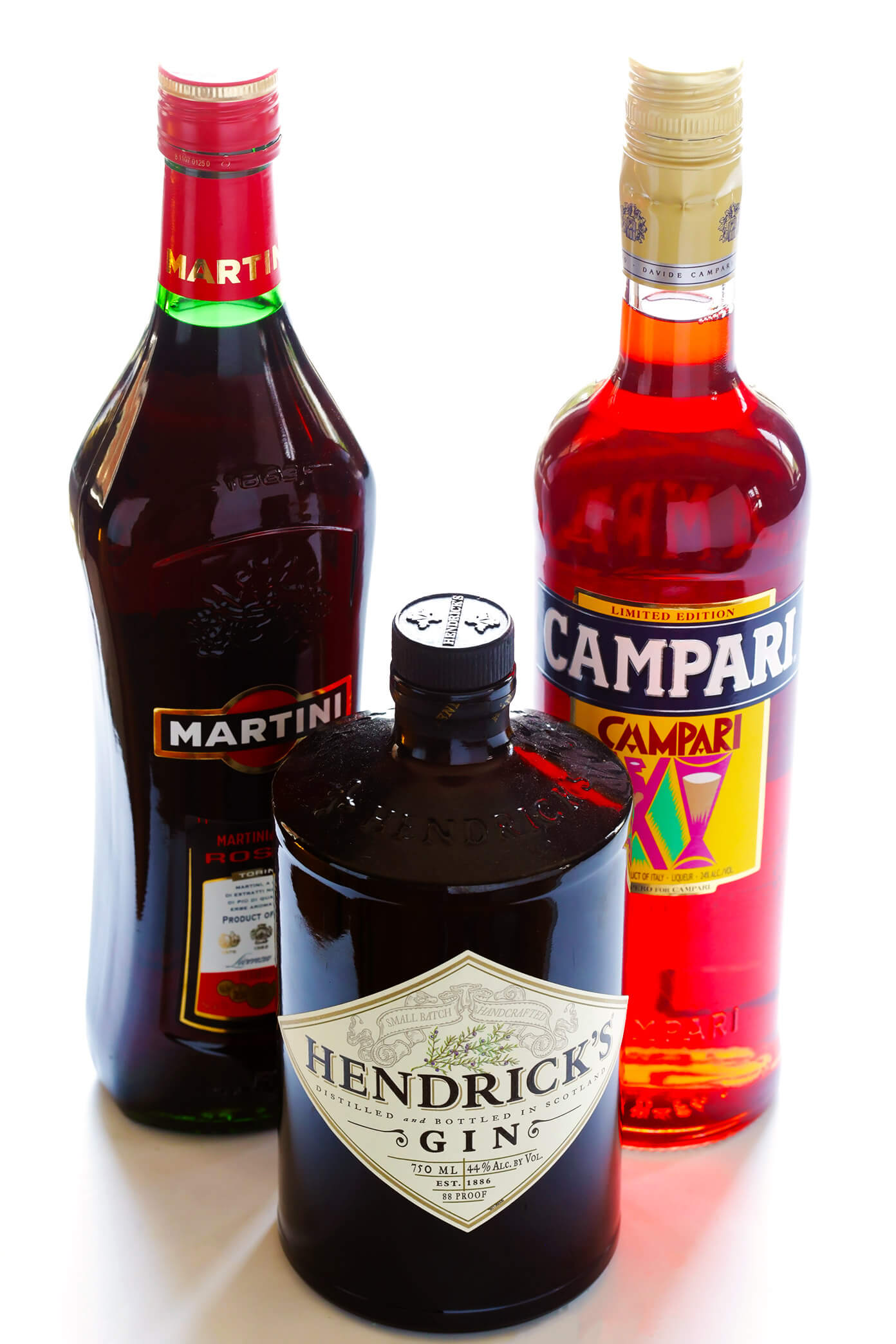 Negroni Ingredients -- Campari, gin and sweet vermouth