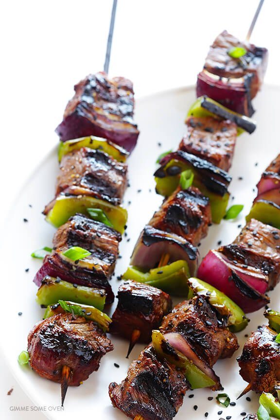 Asian Pepper Steak Kabobs | gimmesomeoven.com
