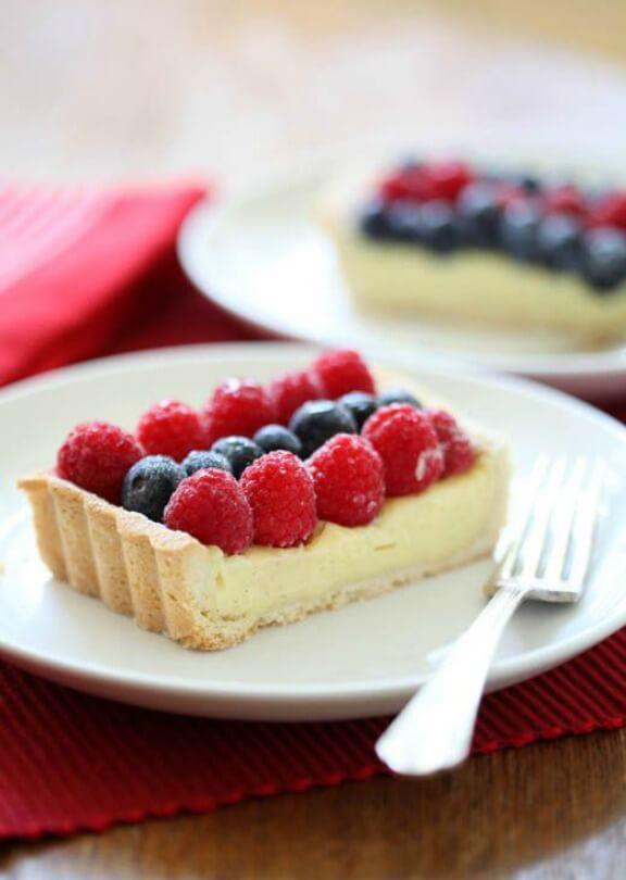 Raspberry, White Chocolate and Blueberry Tart | zoebakes.com
