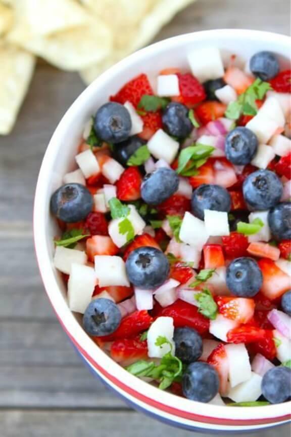 Blueberry, Strawberry & Jicama Salsa | twopeasandtheirpod.com