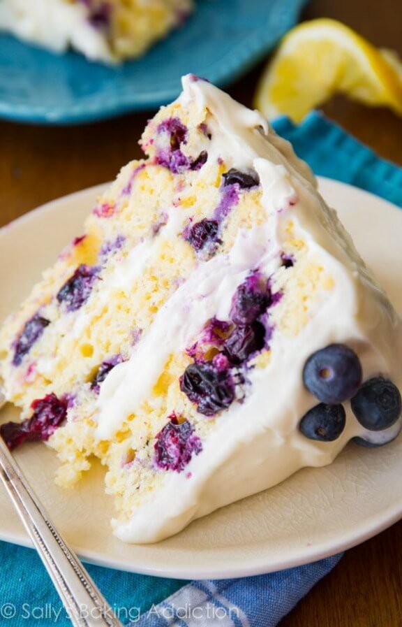 Lemon Basil Blueberry Cake