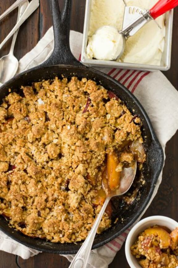 Maple Sugar, Bourbon, and Brown Butter Peach Crisp | bojongourmet.com