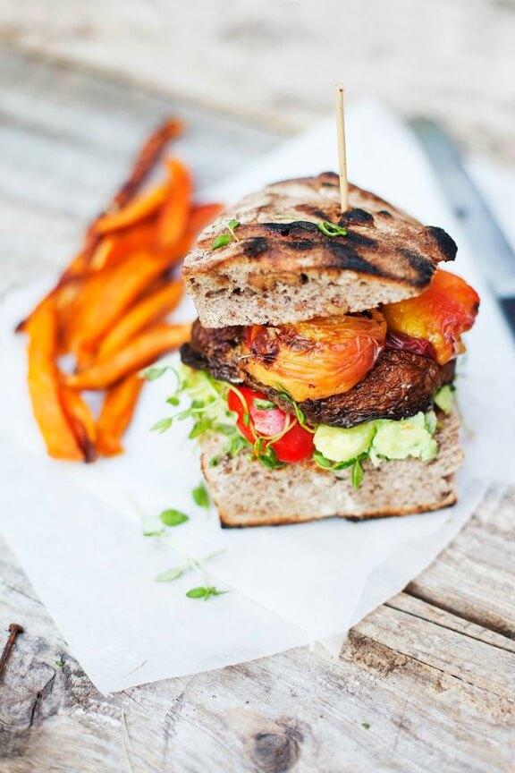 Portobello & Peach Burger | greenkitchenstories.com