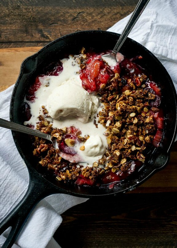 Stovetop Rhubarb-Cherry Crisp | kitchenconfidante.com