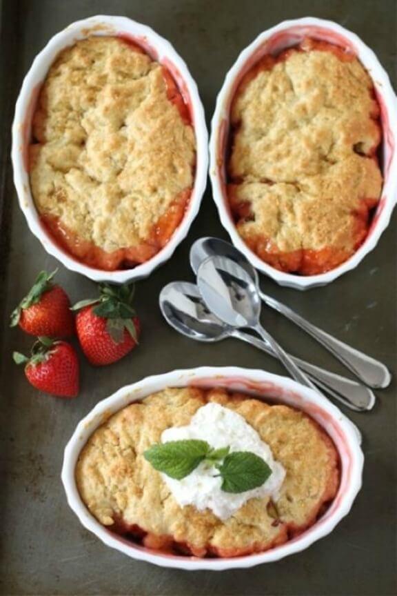 Strawberry Rhubarb Cobbler | twopeasandtheirpod.com