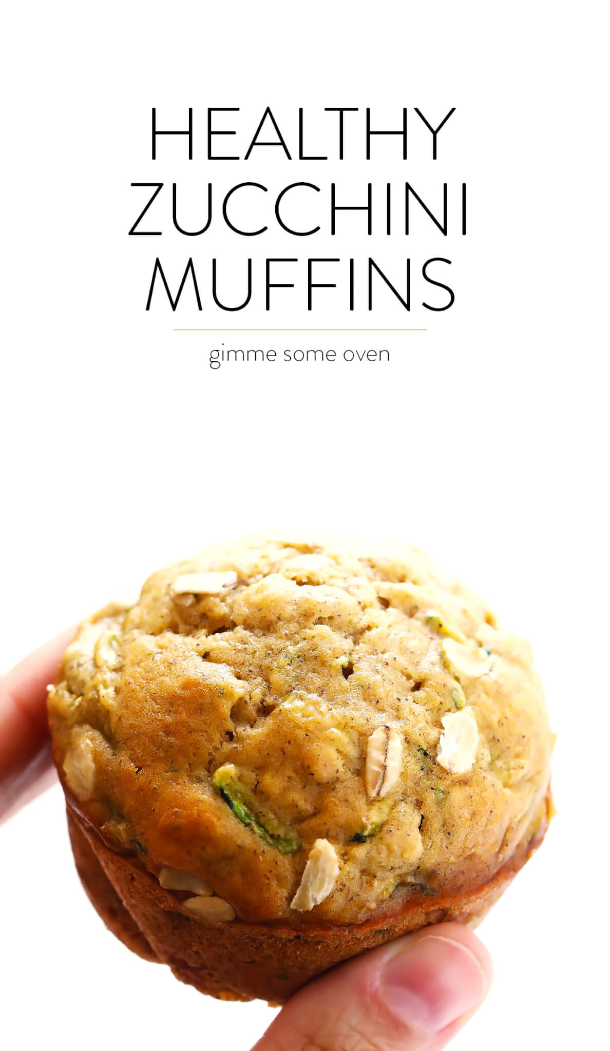 Love this Healthier Zucchini Muffins recipe! It's easy to make, made with healthier ingredients (including oatmeal), and so flavorful and delicious! My kind of summer breakfast comfort food. :) | gimmesomeoven.com