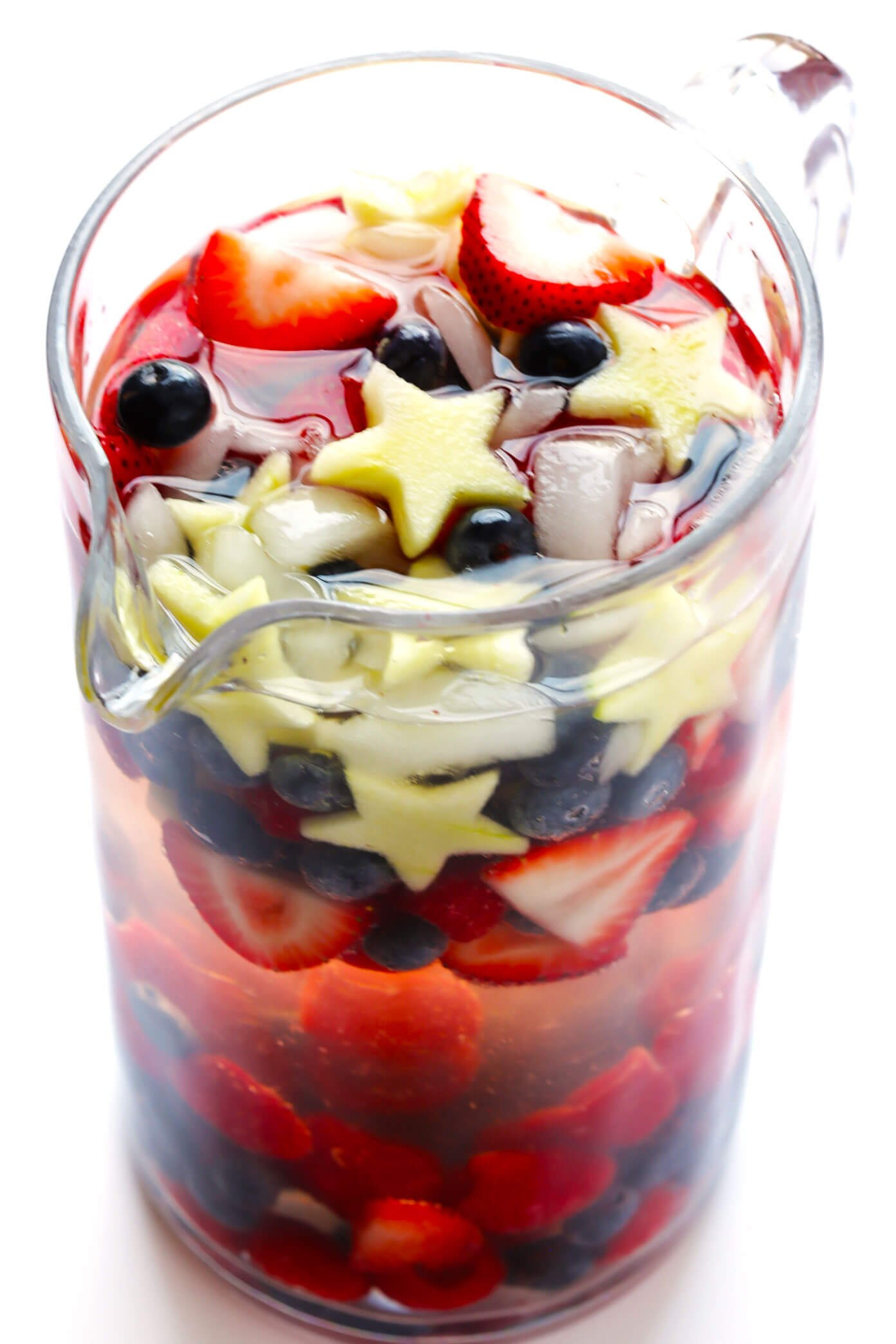 Red White and Blue Sparkling Sangria in a Pitcher