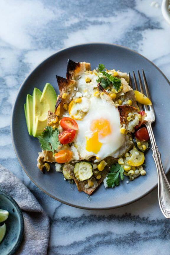 Baked Green Chilaquiles with Sweet Corn + Summer Squash | bojongourmet.com