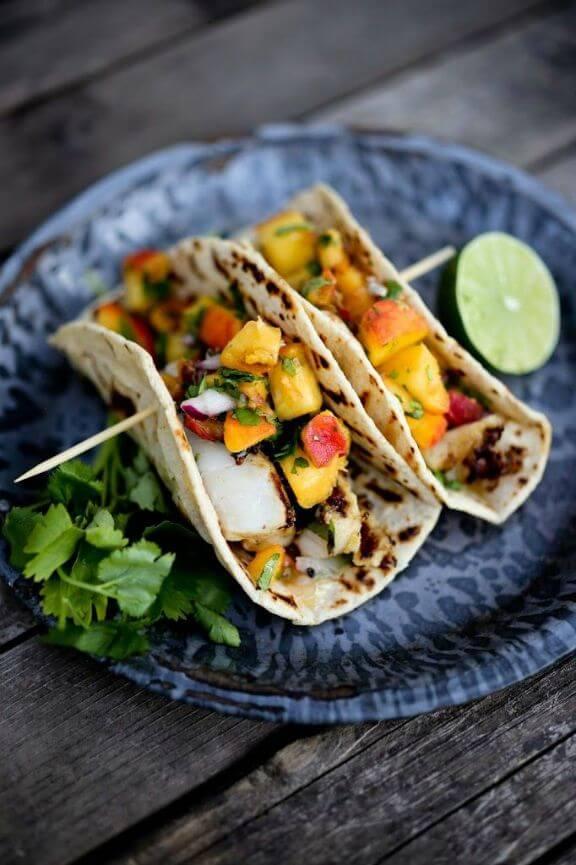 Chipotle Fish Tacos with Peach Salsa | feastingathome.com