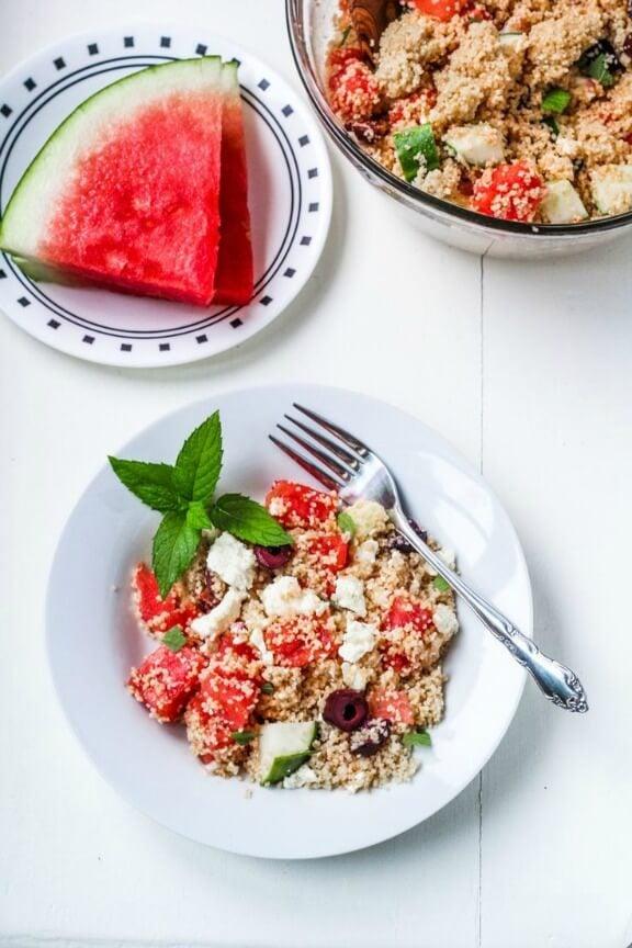 Greek Couscous Salad with Watermelon and Feta | katieatthekitchendoor.com