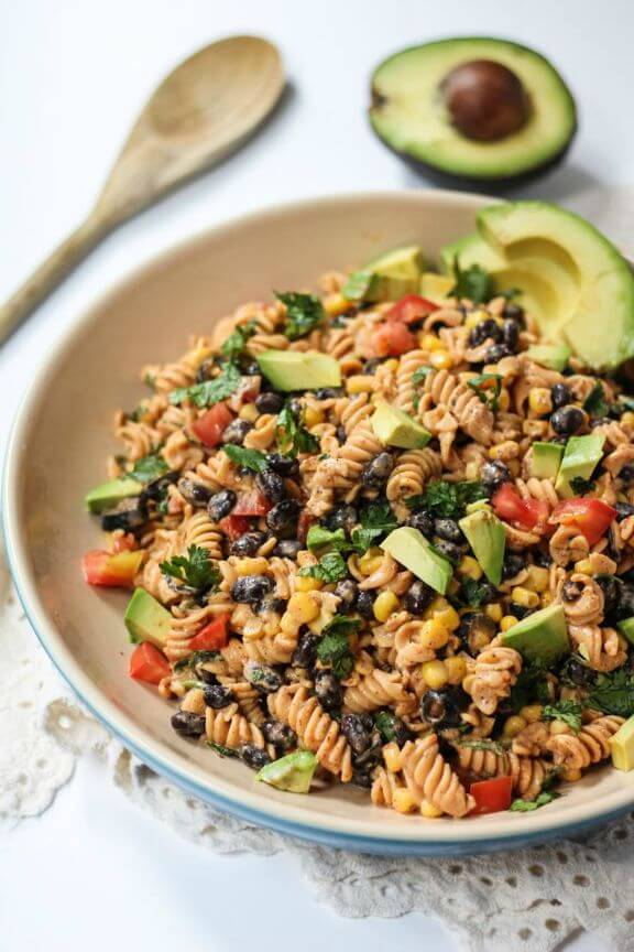 Healthy Southwest Pasta Salad with Chipotle-Lime Greek Yogurt Dressing | ambitiouskitchen.com