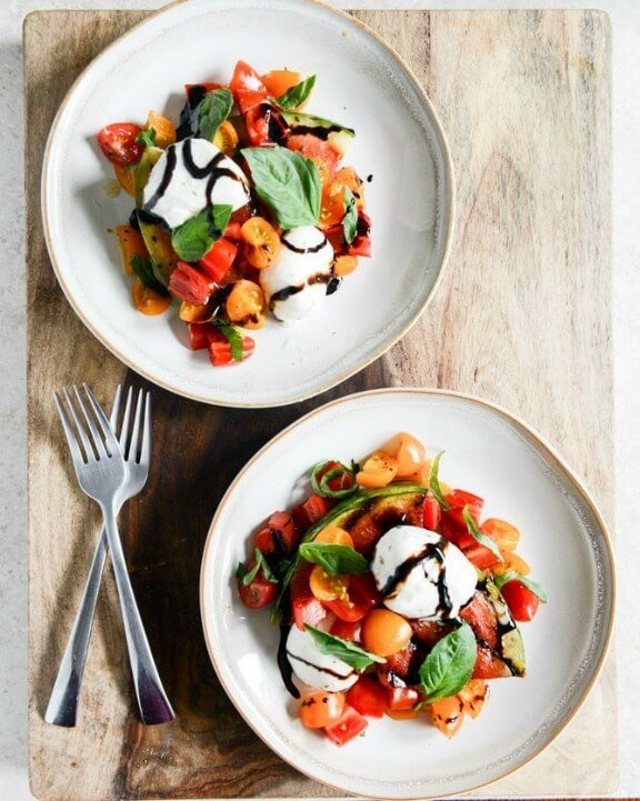Honey Grilled Watermelon Caprese Salads | howsweeteats.com
