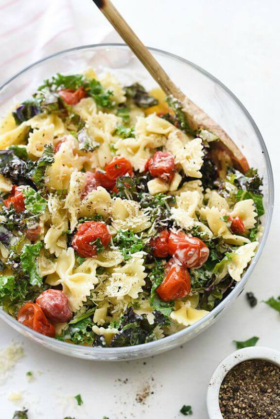 Kale Caesar Pasta Salad | foodiecrush.com
