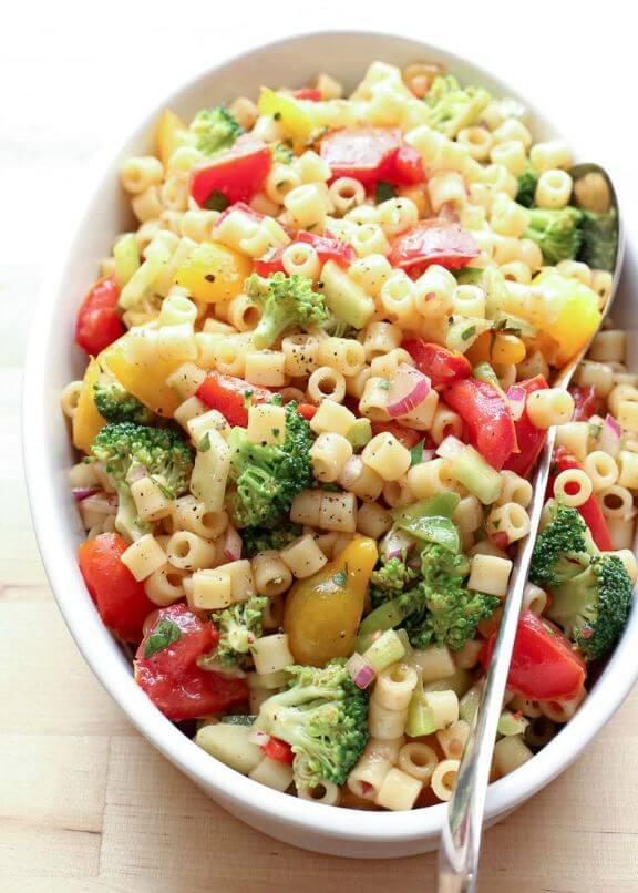 Marinated Vegetable Pasta Salad | barefeetinthekitchen.com