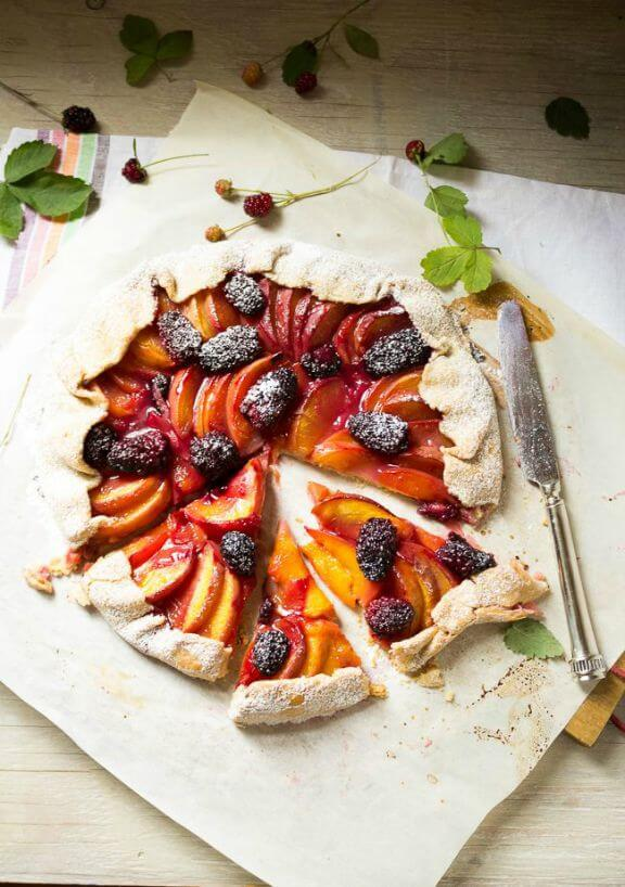 Peach & Blackberry Galette | abitwholesomely.com