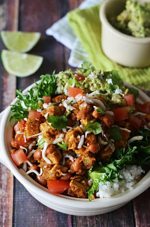 Sofritas Tofu Burrito Bowls | hostthetoast.com