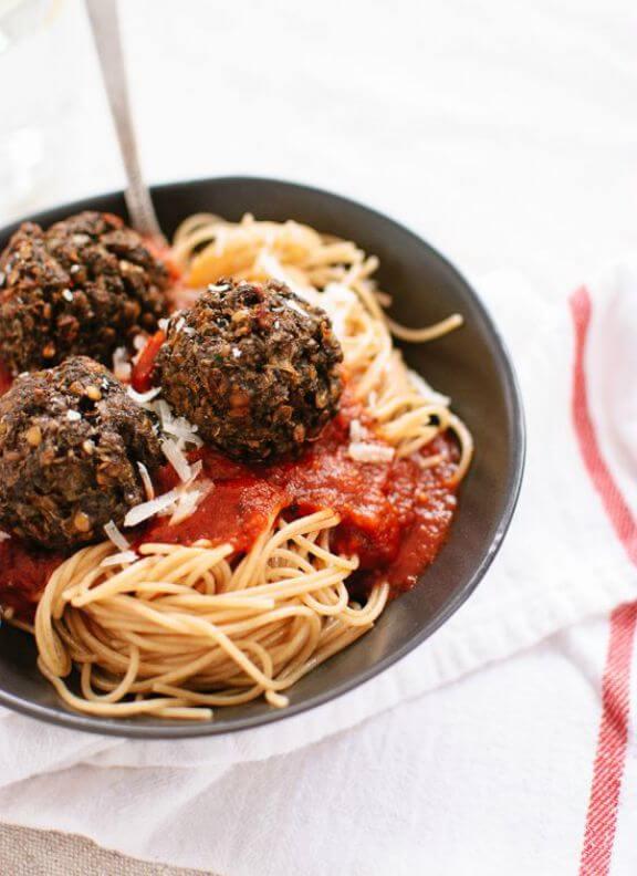 Vegetarian Lentil and Mushroom Meatballs | cookieandkate.com
