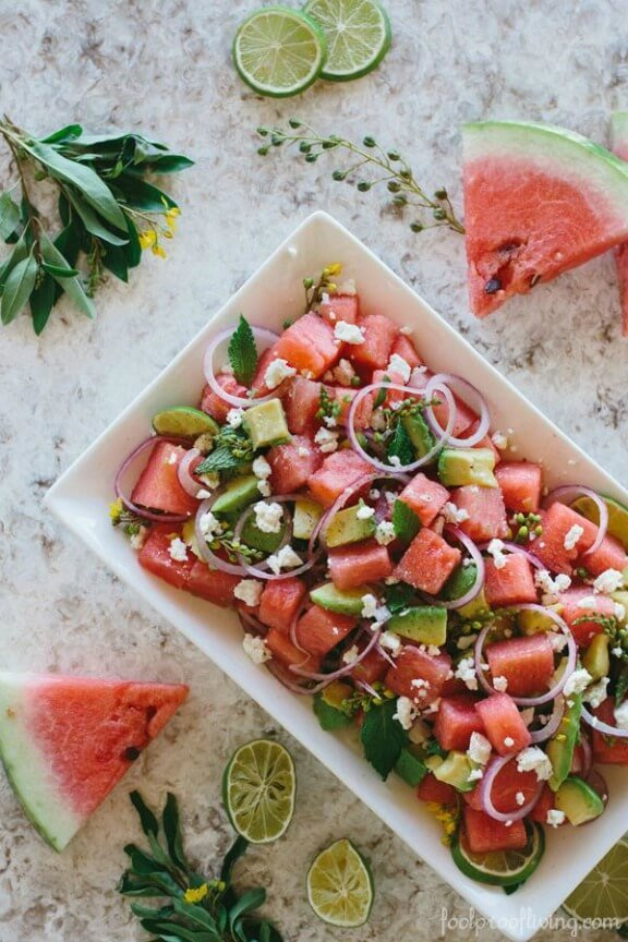 Watermelon, Avocado and Mint Salad with Feta Cheese | foolproofliving.com