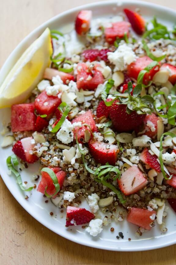 Watermelon, Strawberry, Basil Salad (2 Ways) | edibleperspective.com