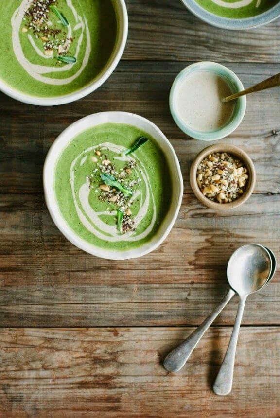 Broccoli Soup with Tahini, Lemon and Pine Nut Za'atar   mydarlinglemonthyme.com