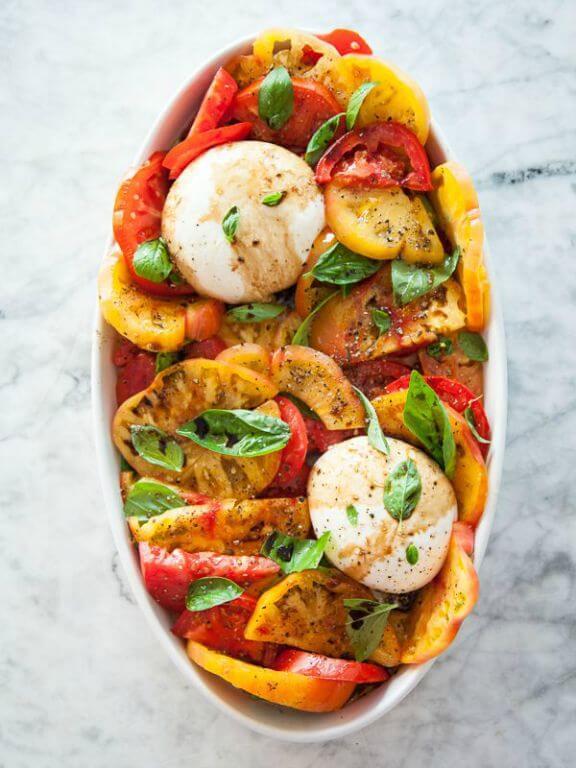 Burrata and Heirloom Tomato Caprese Salad | foodiecrush.com