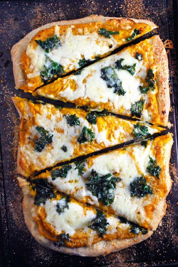 Butternut Squash and Kale Pizza | theliveinkitchen.com