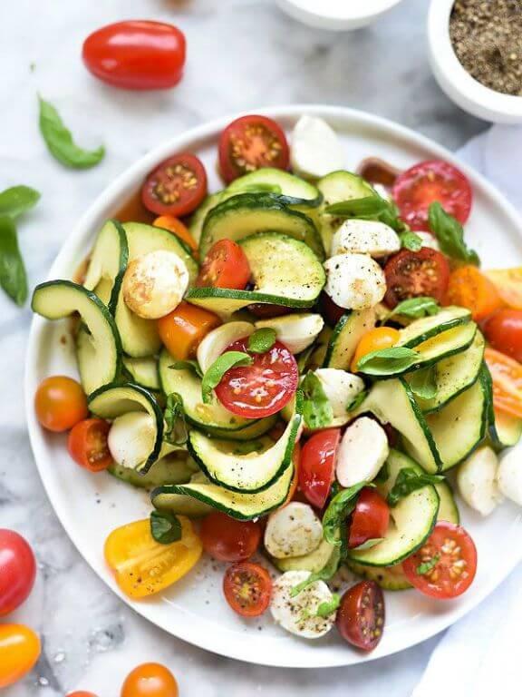 Caprese Zucchini Salad | foodiecrush.com