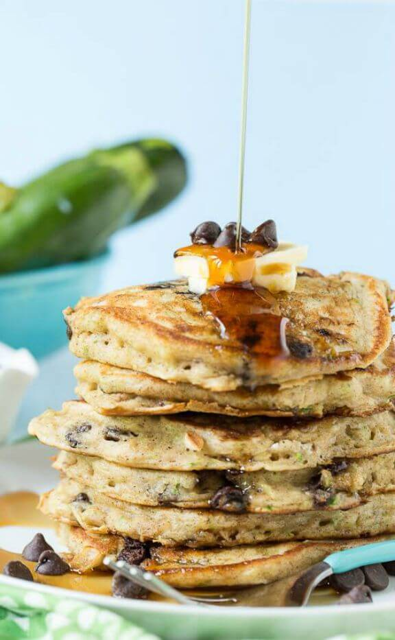 Chocolate Chip Zucchini Bread Pancakes | spicysouthernkitchen.com