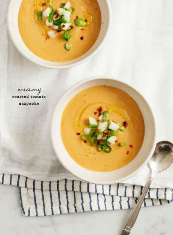 Creamy Roasted Tomato Gazpacho | loveandlemons.com