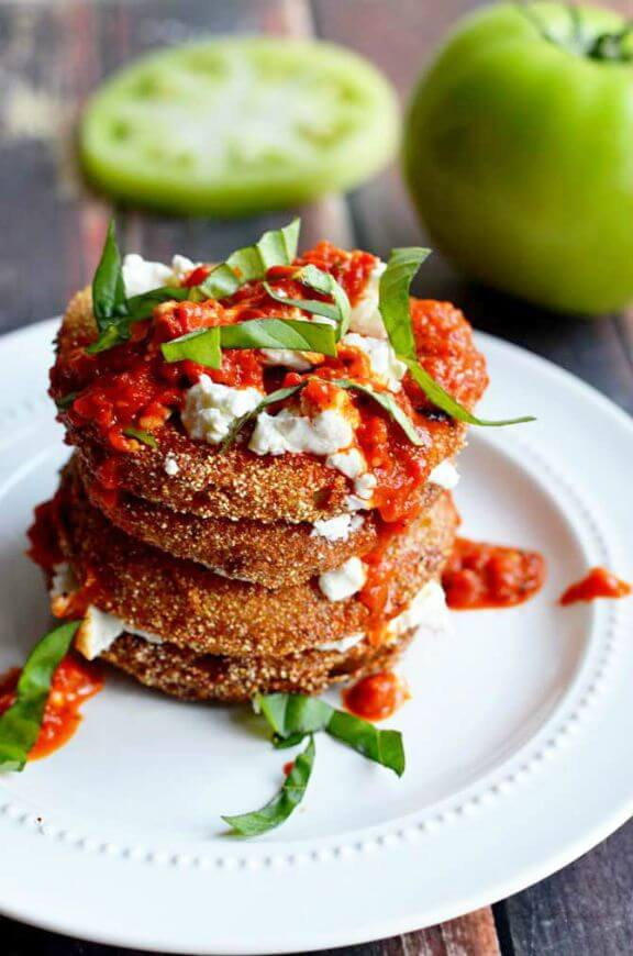 Fried Green Tomatoes with Goat Cheese and Roasted Red Pepper Vinaigrette |hostthetoast.com