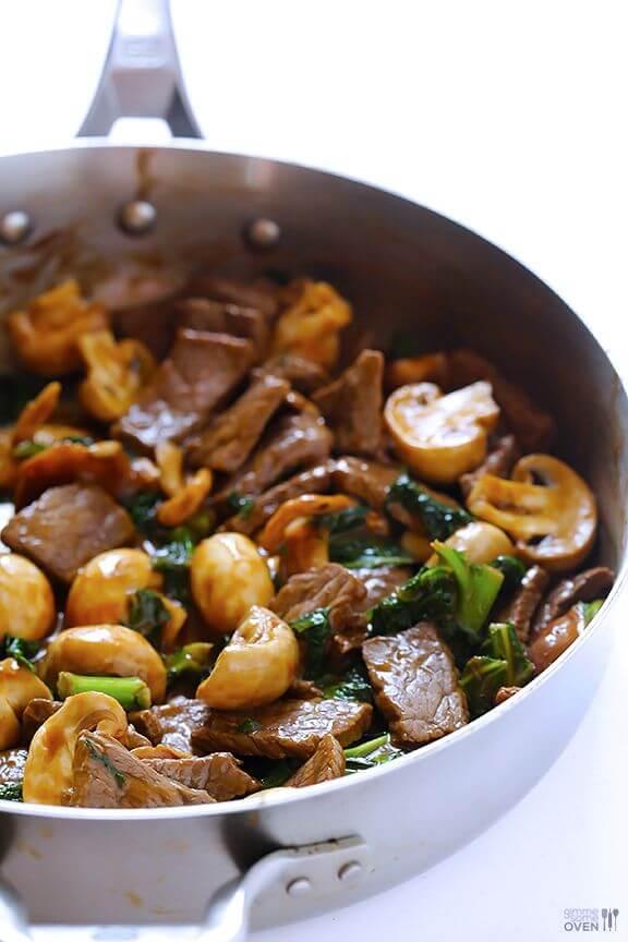 Ginger Beef, Mushroom & Kale Stir-Fry | gimmesomeoven.com