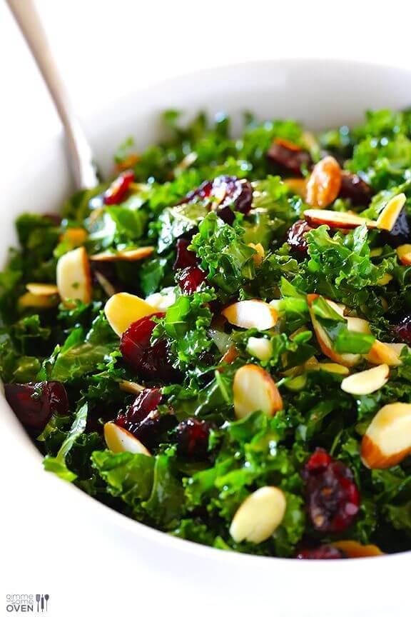 Kale Salad with Warm Cranberry Vinaigrette | gimmesomeoven.com